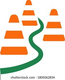 Soccer Training Cones Icon. Flat Color Design. Vector Illustration.