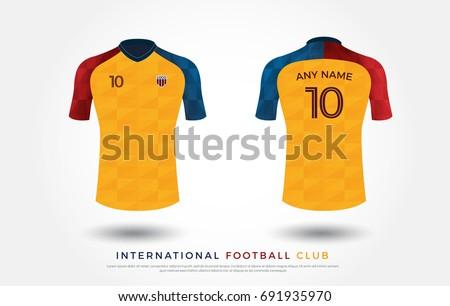 Soccer T Shirt Design Uniform Set Of Kit Football Jersey Template For