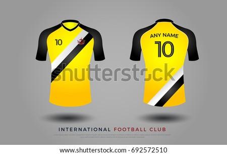 Soccer T Shirt Design Uniform Set Of Kit Football Jersey Template Yellow