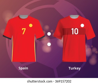 Soccer T-shirts of Spain and Turkey. Football team equipment