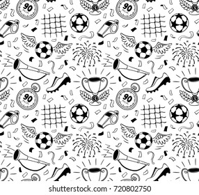 Soccer vector background. Vector illustration of seamless football wallpaper pattern for your design