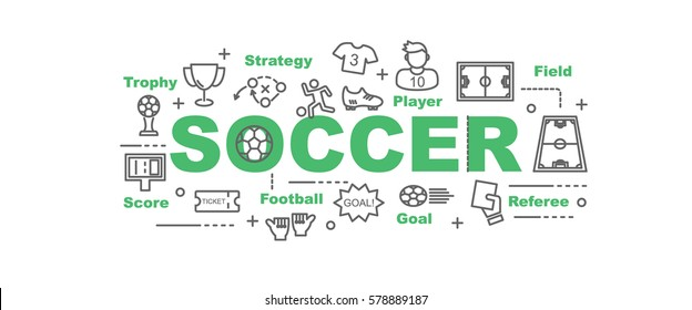 soccer vector banner design concept, flat style with thin line art icons on white background