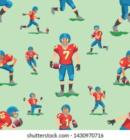 Soccer vector footballer teamleader captain or soccerplayer character in sportswear playing with soccerball on football pitch illustration set of sportsman in footballing clothes background