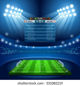 Soccer Vector Stadium Score Board Empty Field Background. Football Stadium Nocturnal View Illustration. Sport Building Sporting International soccer events Football Russia 2018 Championship Cup Quatar