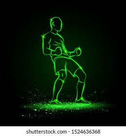 Soccer winner gesture silhouette of a football player. Vector green neon sport victory illustration.
