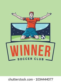 The soccer winner is a vector illustration about a football scorer jubilation after a goal