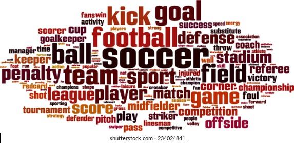 Soccer word cloud concept. Vector illustration