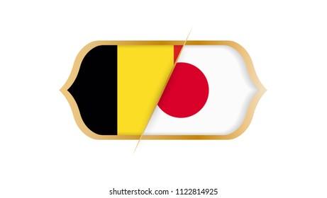 Soccer world championship Belgium vs Japan. Vector illustration.