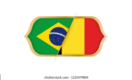 Soccer world championship Brazil vs Belgium. Vector illustration.