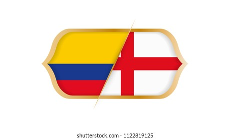 Soccer world championship Colombia vs England. Vector illustration.