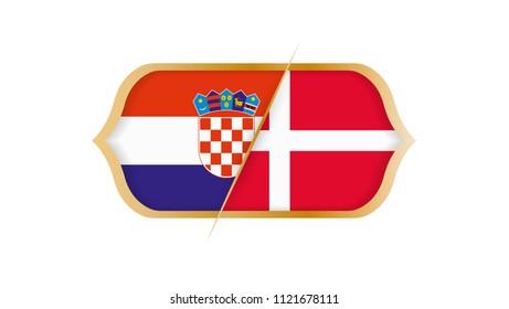 Soccer world championship Croatia vs Denmark. Vector illustration.