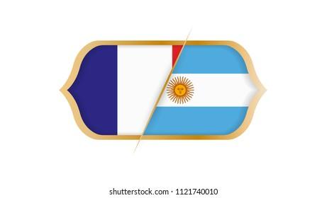 Soccer world championship France vs Argentina. Vector illustration.