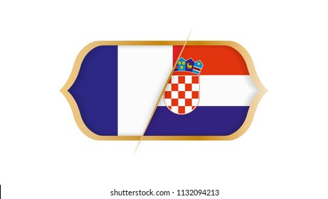 Soccer world championship France vs Croatia. Vector illustration.