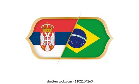 Soccer world championship Serbia vs Brazil. Vector illustration.