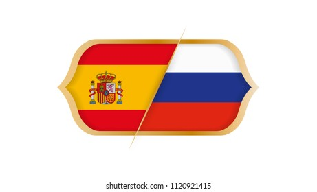 Soccer world championship Spain vs Russia. Vector illustration.