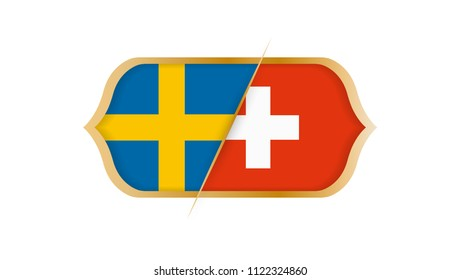 Soccer world championship Sweden vs Switzerland. Vector illustration.