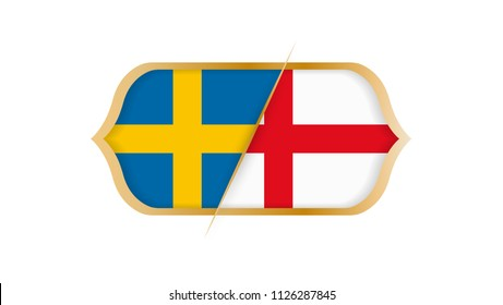 Soccer world championship Sweden vs England. Vector illustration.