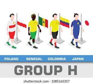 Soccer world championship tournament 2018 team group. Group H Poland,  Senegal,  Columbia,  Japan.