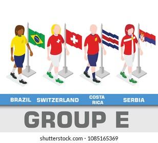 Soccer world championship tournament 2018 team group. Group E Brazil, Switzerland, Costa Rica, Serbia.