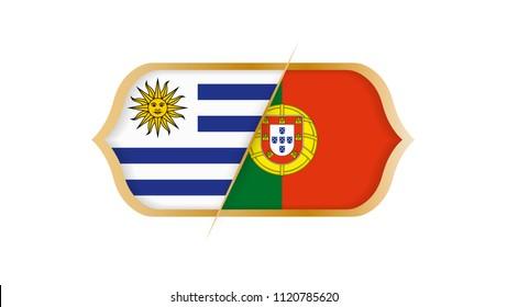 Soccer world championship Uruguay vs Portugal. Vector illustration.