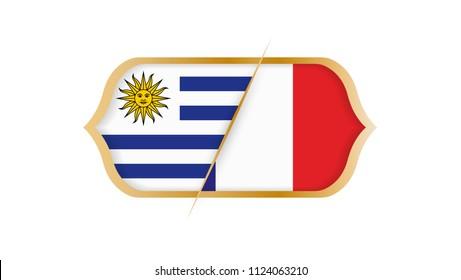 Soccer world championship Uruguay vs France. Vector illustration.