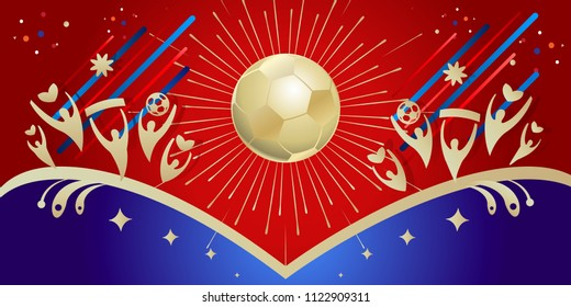 Soccer world competition winner event invitation. Russian festival banner sports football elements, happy fan people, stars, gold soccer ball, abstract holiday starburst Moscow fireworks background