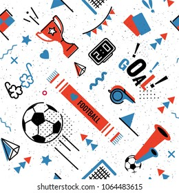 Soccer\u002Ffootball abstract background in 80s memphis style. Seamless memphis pattern for posers and cards. Vector illustration