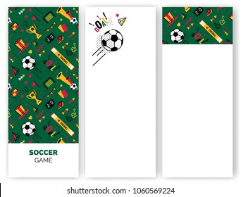 Soccer/football abstract banners in 80s memphis style. Vector illustration