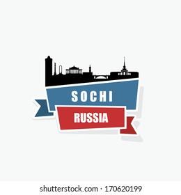 Sochi ribbon banner - vector illustration