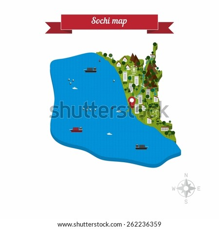 Sochi Russia Map Flat Style Design Stock Vector (Royalty ... on flat united states map, flat eurasia map, flat great britain map, flat country map, flat europe map, flat us map, flat africa map, flat world maps,