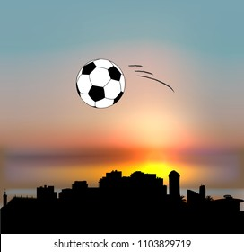 Sochi vector skyline with football ball