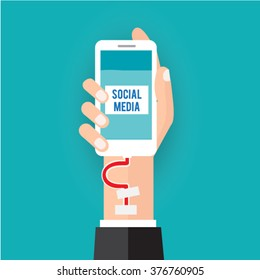 Social addict.Vector illustration business social media concept.