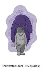 social anxiety, mental illness vector. boy in depression bad mental health