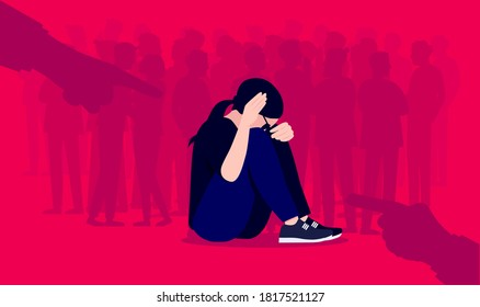 Social anxiety and social phobia illustration. Woman having overwhelming fear of social situations. People in background and hands pointing on red background. Mental health concept. Vector format.