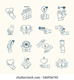 Social assistance services line hands signs. Linear fundraising, support and care icons with hand. Donation and charity, donate and sponsor illustration
