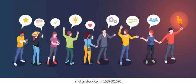 Social audience influence, opinion leader and influencer, vector creative design. Man with torch lead people followers, social media community and internet marketing concept