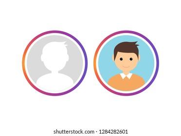 Social avatar insta story vector user logo. Gradient story social avatar template live.