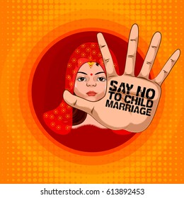 Social Awareness concept poster for Say No to Child Marriage. Vector illustration
