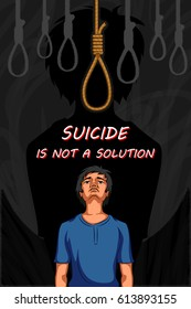 Social Awareness concept poster for Stop Suicide Vector illustration