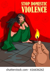 Social Awareness concept poster for Stop Domestic Violence. Vector illustration
