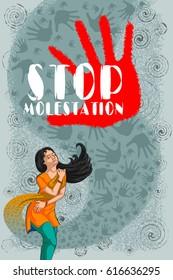 Social Awareness concept poster for Stop Molestation. Vector illustration