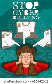 Social Awareness concept poster for Stop Cyber Bullying. Vector illustration
