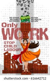 Social Awareness concept poster for Stop Child Labour. Vector illustration