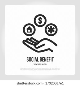 Social benefit. Government compensation after pandemic. Hand with mortgage, money, health insurance. Thin line icon. Vector illustration.