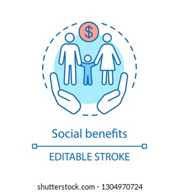 Social benefits concept icon. Low income financial assistance idea thin line illustration. Family welfare. Social safety net. Vector isolated outline drawing. Editable stroke