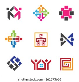 Social building network circle in business logo vector template