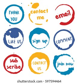 Social Buttons collection of round watercolor stains with thank you, email, like us, comment, contact me, us, join now, subscribe, sign up text. Set of vector Social Buttons stamps.