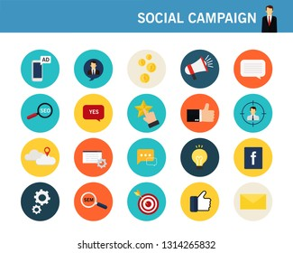 Social campaign concept flat icons