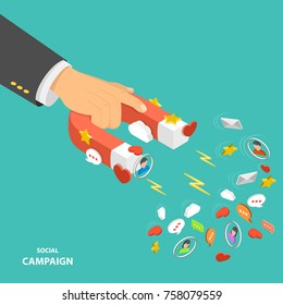 Social campaign flat isometric low poly vector concept. Hand is holding a magnet that attracting promotion symbols like hearts, likes, emails stars, text bubbles