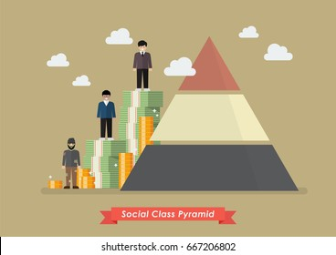 Social class pyramid. Vector illustration